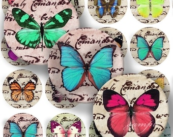 Lovely Butterflies Digital Collage ( 131 ) Sheet 1 inch Circles Bottle cap images glass tiles resin pendants bottlecaps .....