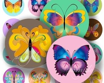 Cute Butterflies Digital Collage ( 025) Sheet 1 inch Circles Bottle cap images glass tiles resin pendants bottlecaps .....