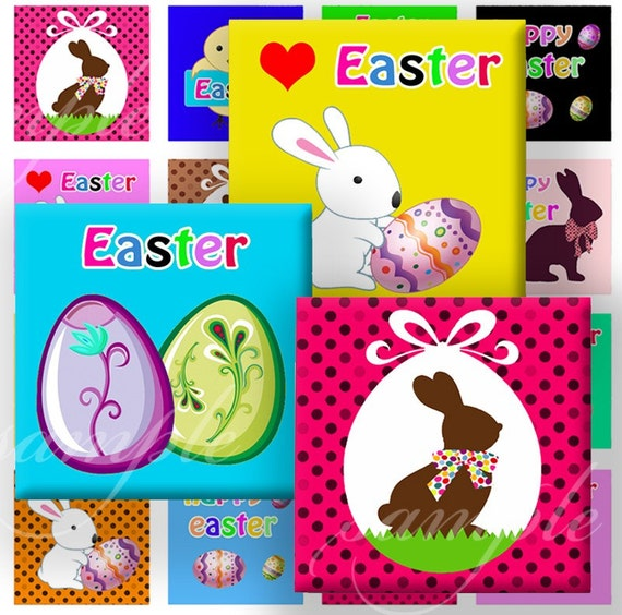Sweet Easter Digital Collage ( 310 ) Sheet 7\/8 inch squares (0.85) for resin pendants, glass tiles, pebble magnets or stickers