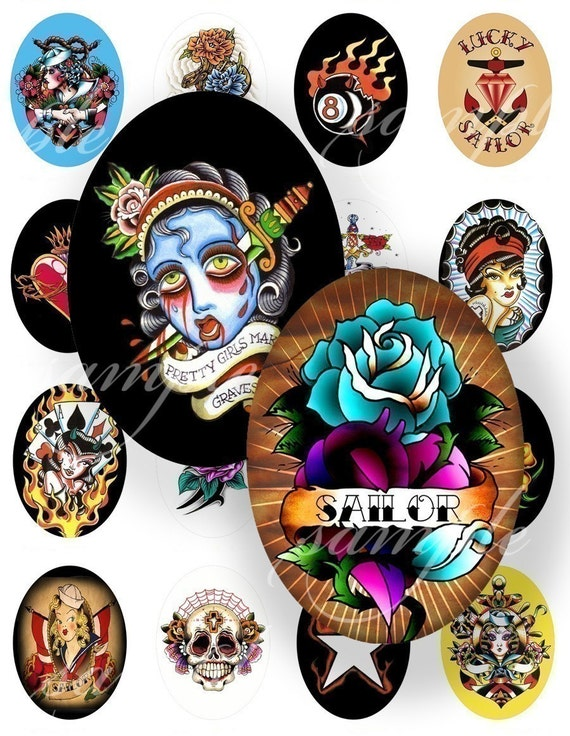 New Tattoo Desings Digital Collage (330) Sheet 40x30 mm Oval (2 pages) for pendants, magnets, glass tiles ....