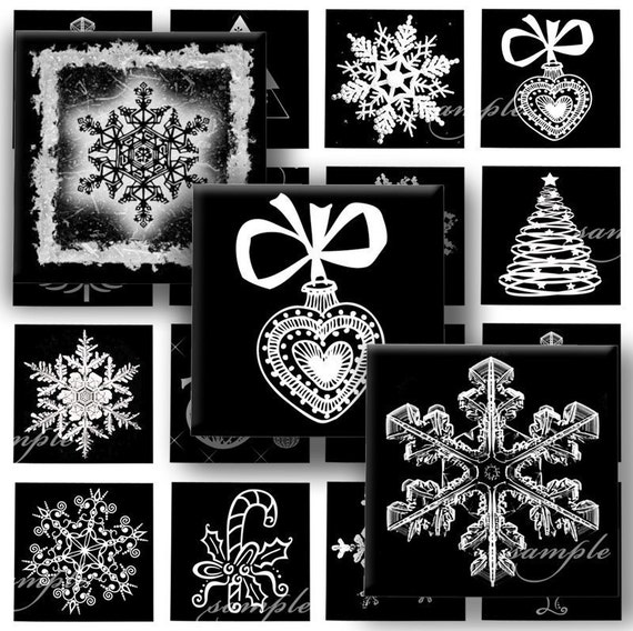 Christmas Night  Digital Collage ( 136 ) Sheet 1 inch square images for resin pendants magnets glass tiles stickers ..