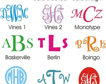 Large Wall Monogram * 12 inches tall * Vinyl Wall Decal * Great for Nursery Kid's Room Bedroom Family Room * Any Color * Vines Curlz Fonts