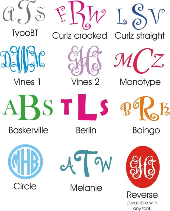 """Three 2""""  Monogram Decals for your Kindle or other new device"""
