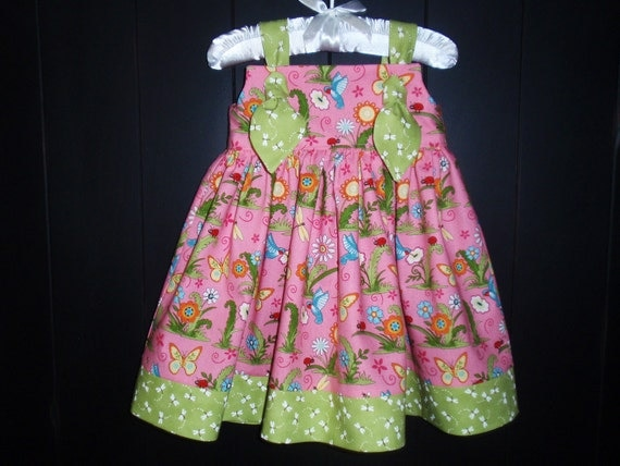 Baby Girl Knot Dress, Size 6-12mo, LAST ONE, Hummingbirds Ladybugs Butterflies Pink Green by Hopscotch Avenue