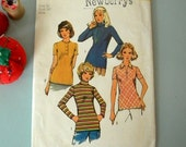 1970s Knit Tops. Simplicity 5185 Sewing Pattern. Size 34 Bust