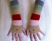 Striped Wool Fingerless Gloves / Recycled Sweater / One Size
