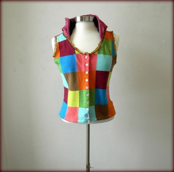 Upcycled Sweater Vest - Wool Hoodie - Medium