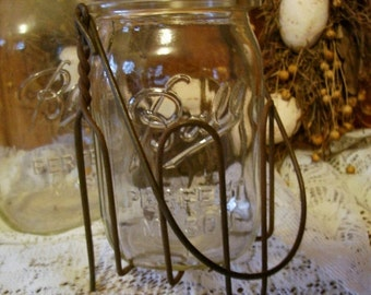 Wire Basket Holder for Glass Jelly Jars Rustic Country Farmhouse Kitchen Decor