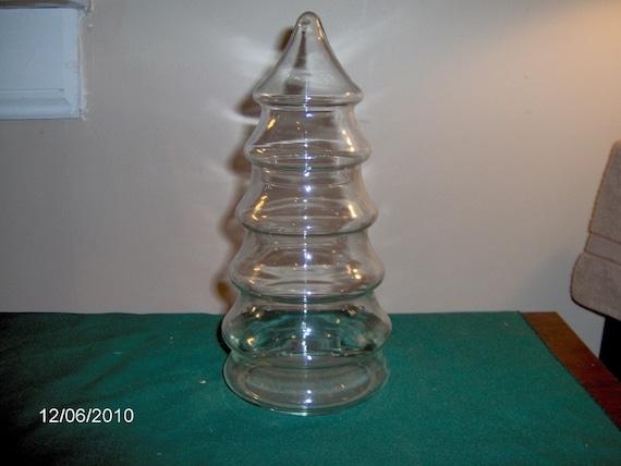 Glass christmas tree candy jar by thefunnybunny on etsy for Christmas glass jars