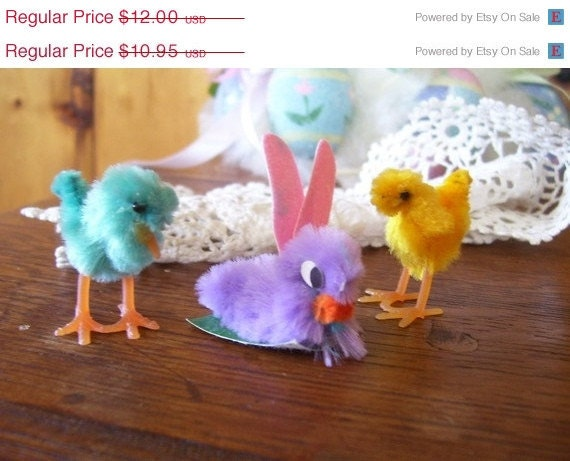 On SaLe SaLe 3 Antique Chenille Easter Decorations Chicks & Rare Purple Bunny-Free Shipping