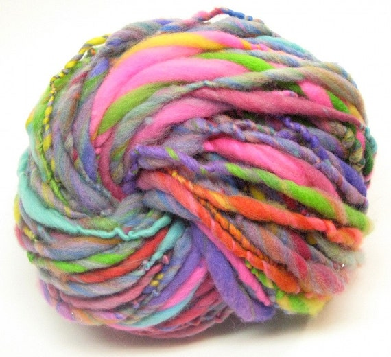 Super bulky handspun rainbow yarn in hand dyed merino wool - 50 yards, 2.6 ounces/ 74 grams