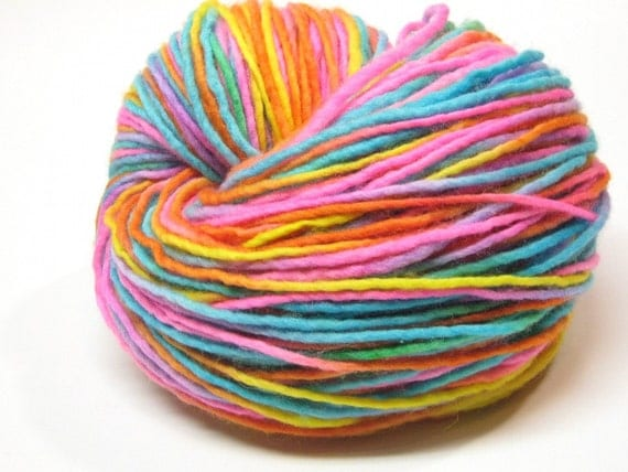 152 yards handpainted rainbow yarn, worsted/ aran weight merino wool -  3.9 ounces/ 110 grams