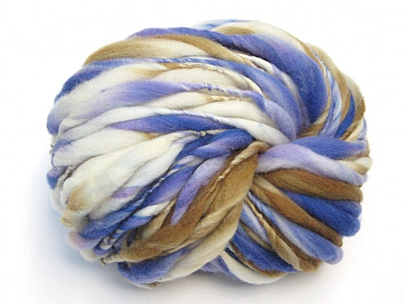 Handspun yarn, super bulky, in hand dyed thick and thin merino wool - 46 yards, 2.5 ounces/  72 grams