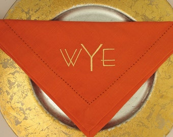 4 Monogrammed  Napkins in the Miami Font
