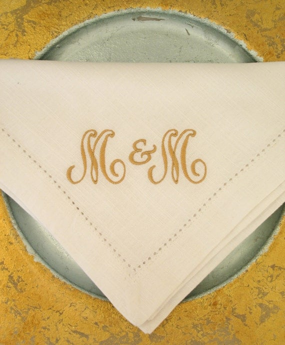 Six -Two Initial monogrammed Cotton Hemstitched Napkins