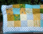 Unique Pale Blue, Green and Yellow Baby Quilt.