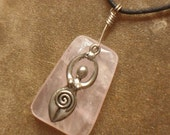 Rose Quartz Pewter Goddess Pendant