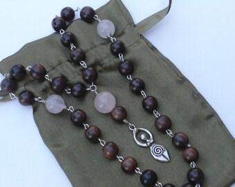 Rose Quartz Goddess Prayer Beads Pagan Prayer Beads Wiccan Wicca Feminist 10mm Wood Rosary Wrapped Prayer Beads Under 50 Dollars
