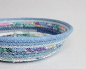 Periwinkle Blues Round Coiled Bowl / Basket by PrairieThreads