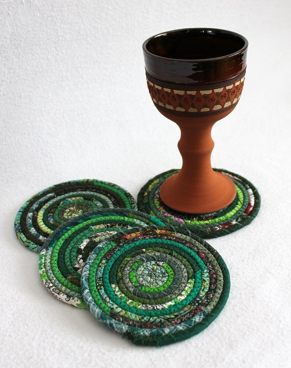 Eco Green Coiled Coasters / set of 4 / by PrairieThreads