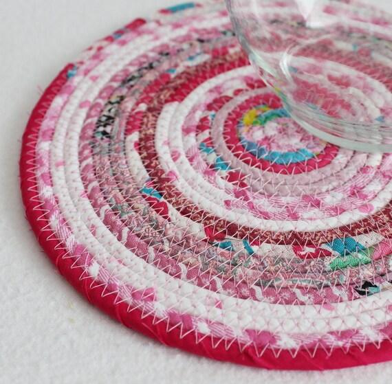 Gypsy Pink Round Coiled Mat by PrairieThreads