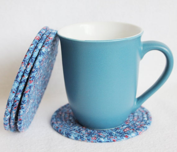Blueberry Round Coiled Coasters / set of 4 / by PrairieThreads