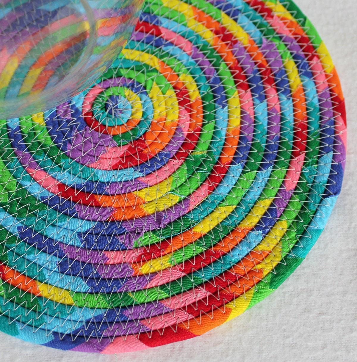 Rainbow Carnival Round Coiled Mat Mug Rug Trivet Hot Pad