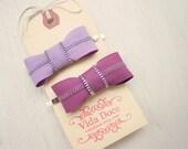 Purple Zipper Bow bobby pins