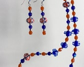 Picnic in Paris Necklace Set - Orange and Blue Lampwork Flowered Beads - Czech Crystals - Silver Spacers - Denim Friendly