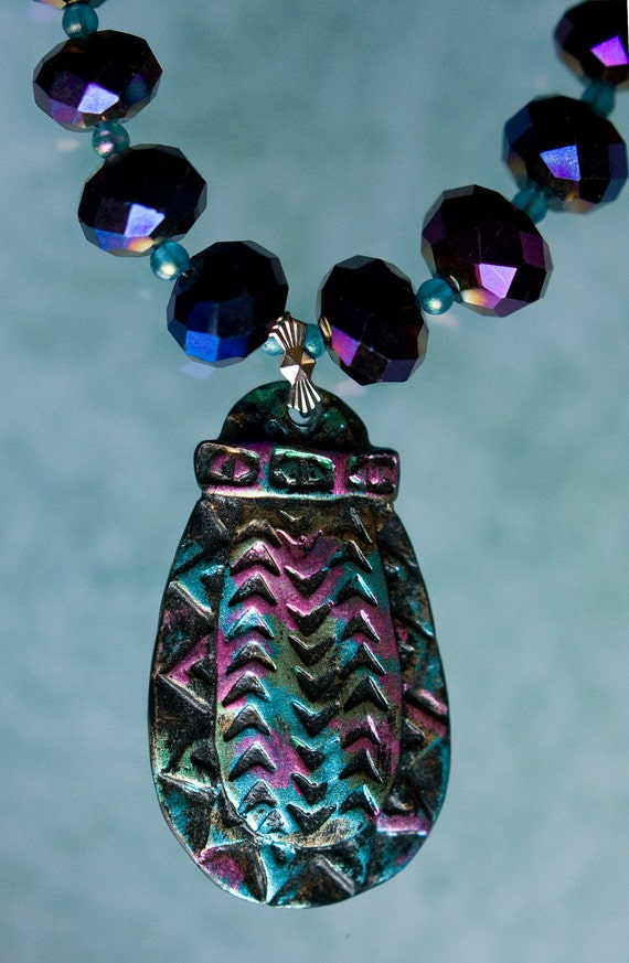 Unique Pendant Necklace - Earring turned into a Pendant - Purple AB Crystals - Aquamarine Glass Seed Beads