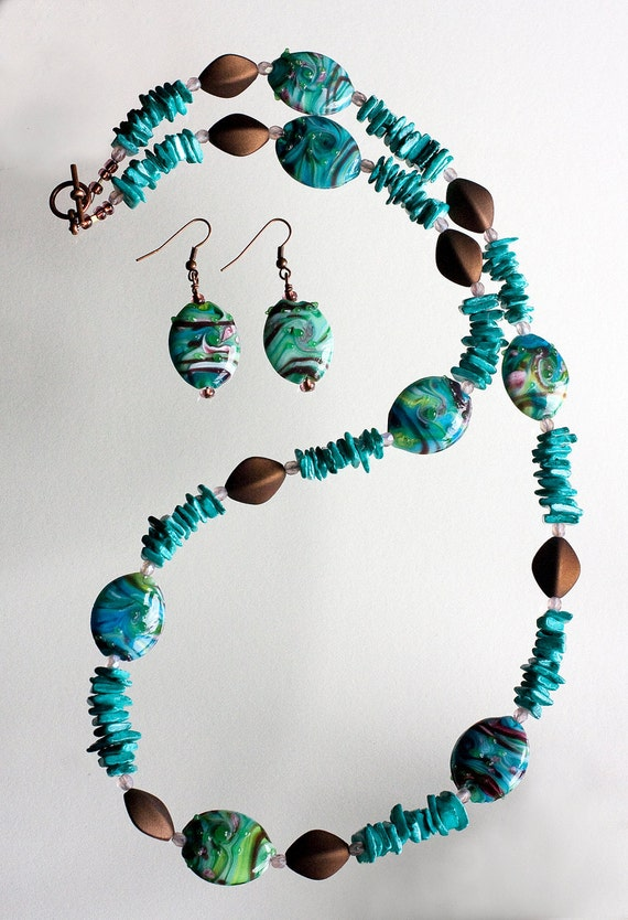 Island in the Sun Necklace Set - Turquoise Chips - Glass Turquoise Beads - Mauve Czech Crystals - Brown Velveteen Beads - Cruise Wear