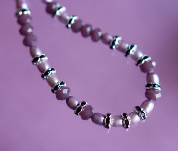 Mauvey Diva Necklace - Mauve Pearls - Mauve Crystals - Black and Silver Rondelle Rhinestone Spacers - Classy Chic - Evening Attire