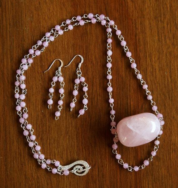 Diva Poetry in Motion Necklace Set - Rose Quartz - Pink Glass Beads - Very Feminine