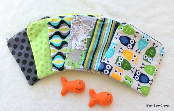 Cloth Snack Bag Reusable ZIPPER TOP - BPA Free Michael Miller Lagoon and Robert Kaufman Owls Set Of 6