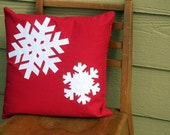 Snowflake Pillow in Red Linen and White Sparkle Felt