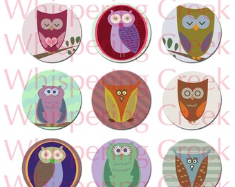 1 inch Owls Circles Collage Sheet