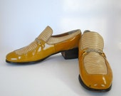 Vintage Dexter Mustard and Cream Patent Leather and Alligator Platform Spectators - Size 11
