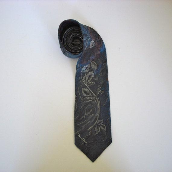 Vintage Oscar de la Renta Brocade Poppies Necktie