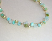 Peruvian Opal, Pearl and Aquamarine crochet