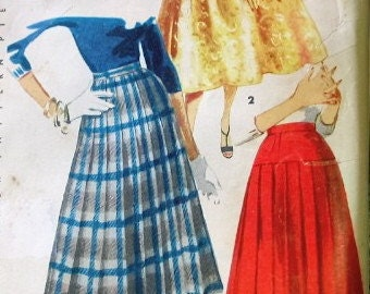 Simplicity Vintage Pattern 1314 - 1950s Full Pleated Skirts - Waist 28 - COMPLETE