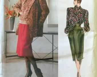 Vogue Bill Blass Pattern 1655 Jacket Skirt Blouse Scarf UNCUT Bust 34