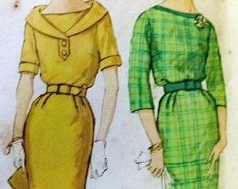 Simplicity Vintage Pattern 3187 1960s Dress Slim Skirt Mad Men VLV Bust 34
