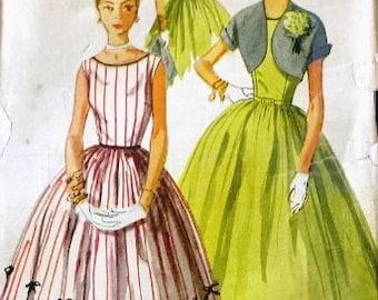Simplicity Vintage Pattern 4250 1940s to 1950s Misses Dress/Bolero Bust 32