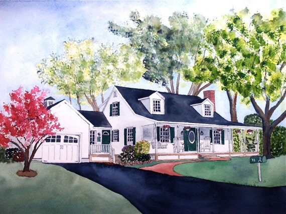 House Portrait In Watercolor 16 x 20 inches By Cynthia Van Horne Ehrlich