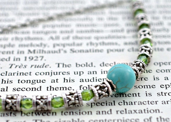 Necklace: Turquoise round, Peridot Green Czech Firepolish Beads and Lattice Silver Beads Classy Elegant