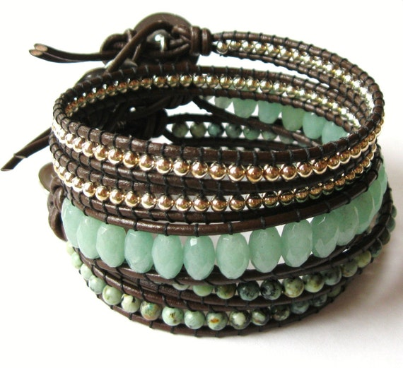 Sweet Pea Double Wrap African Turquoise On Leather