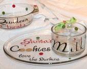 Santa cookies plate, milk mug, & Reindeer treat bowl