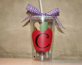 Personalized teacher gift -  Insulated cup with with apples and polka dots and initial - INITIAL ONLY