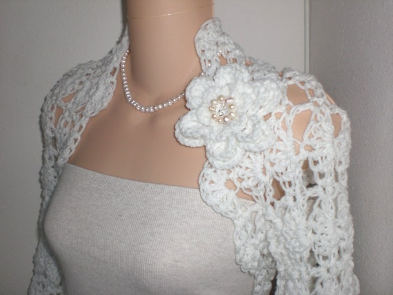 White Crochet Wedding Bolero Shrug Size Extra Large