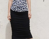 Ruffled Pencil Skirt-Black Modal